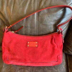 Kate Spade Brennan Wilton Red Suede Hobo Bag